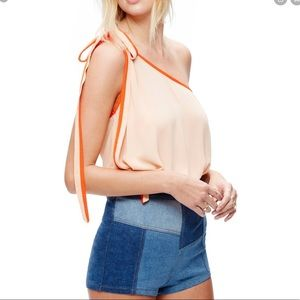 Free People Peach One Shoulder You're The One Top